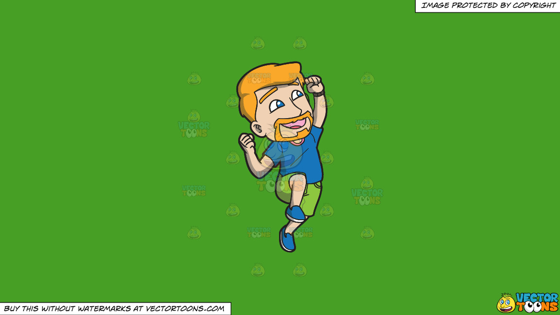 A Man Jumping Up In The Air In Delight On A Solid Kelly Green 47a025 Background thumbnail