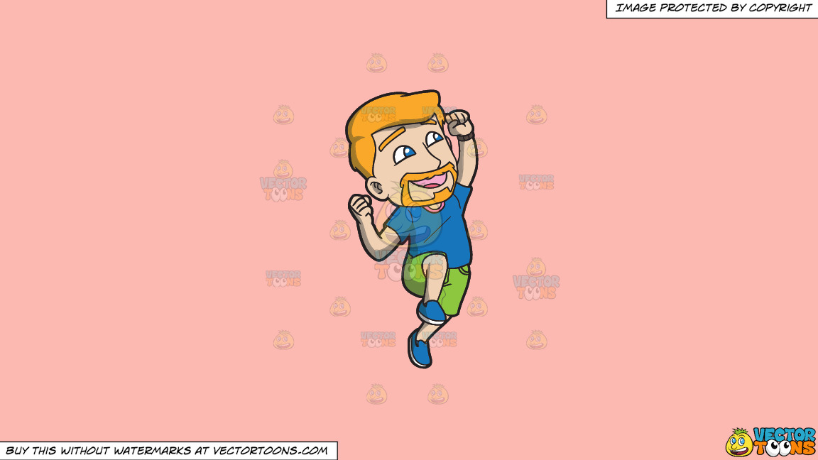 A Man Jumping Up In The Air In Delight On A Solid Melon Fcb9b2 Background thumbnail