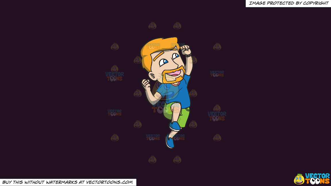 A Man Jumping Up In The Air In Delight On A Solid Purple Rasin 241023 Background thumbnail