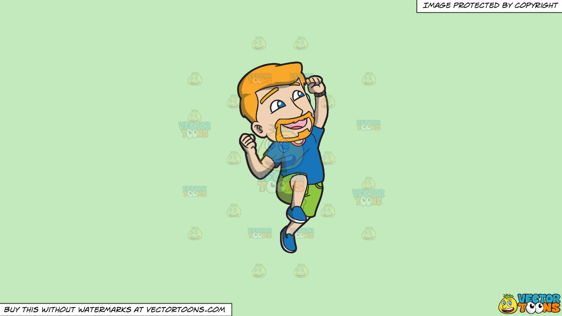 A Man Jumping Up In The Air In Delight On A Solid Tea Green C2eabd Background thumbnail