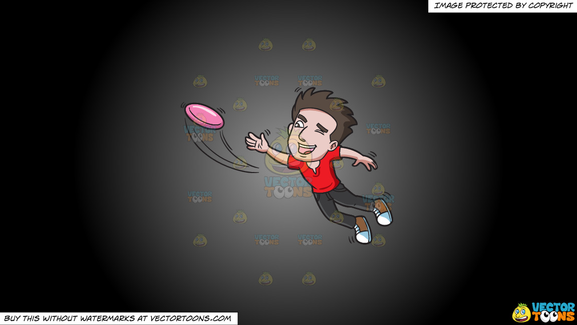 A Man Jumps To Catch A Flying Disc On A Grey And Black Gradient Background thumbnail
