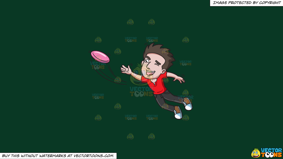 A Man Jumps To Catch A Flying Disc On A Solid Dark Green 093824 Background thumbnail