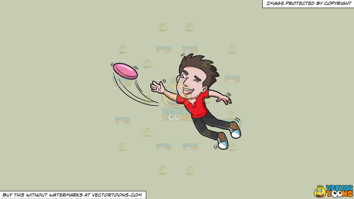 A Man Jumps To Catch A Flying Disc On A Solid Pale Silver C6ccb2 Background thumbnail