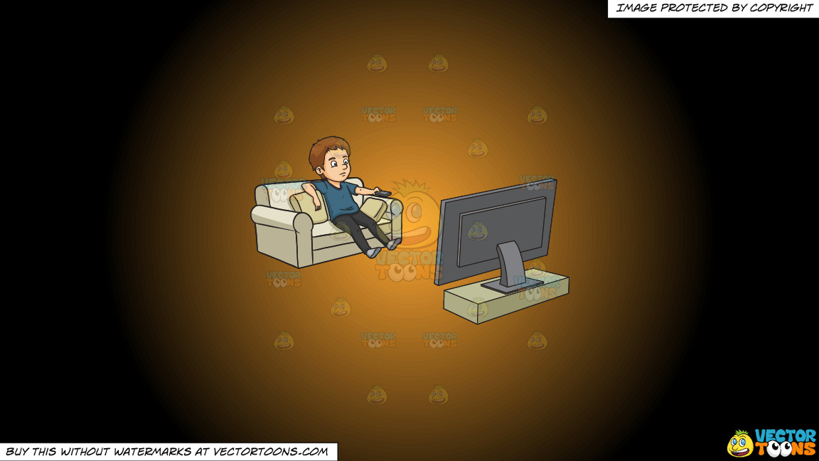 A Man Kills Time By Watching Television On A Orange And Black Gradient Background thumbnail