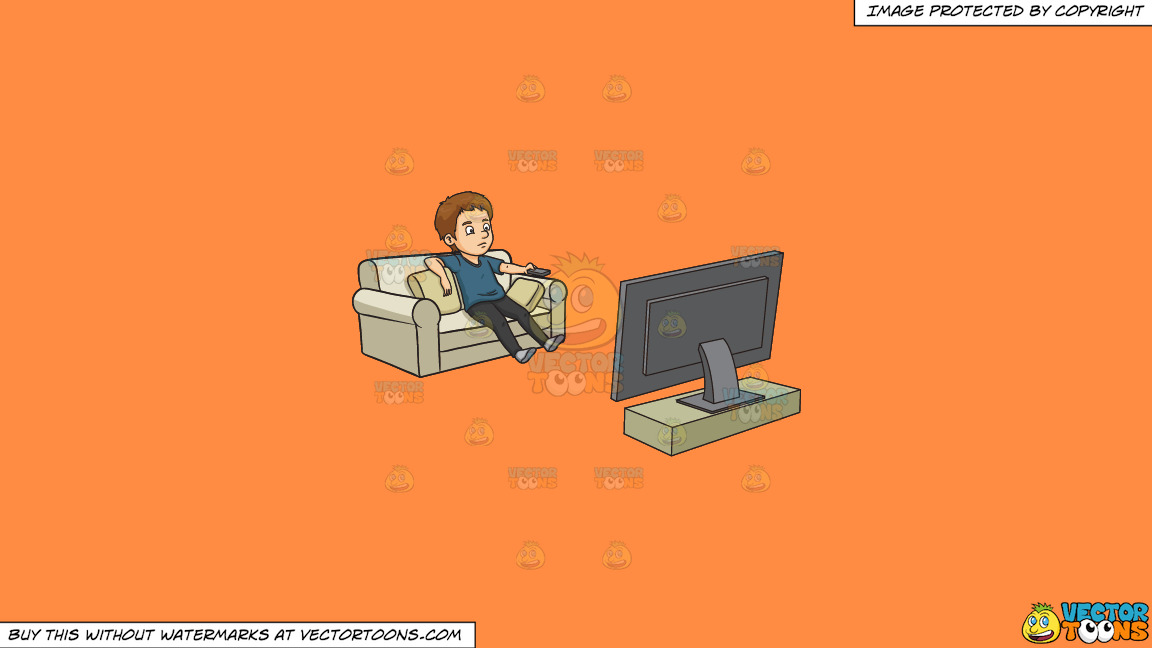 A Man Kills Time By Watching Television On A Solid Mango Orange Ff8c42 Background thumbnail