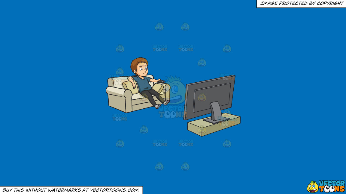 A Man Kills Time By Watching Television On A Solid Spanish Blue 016fb9 Background thumbnail
