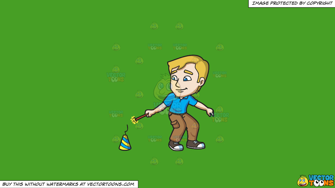 A Man Lighting A Firecracker On The Floor On A Solid Kelly Green 47a025 Background thumbnail