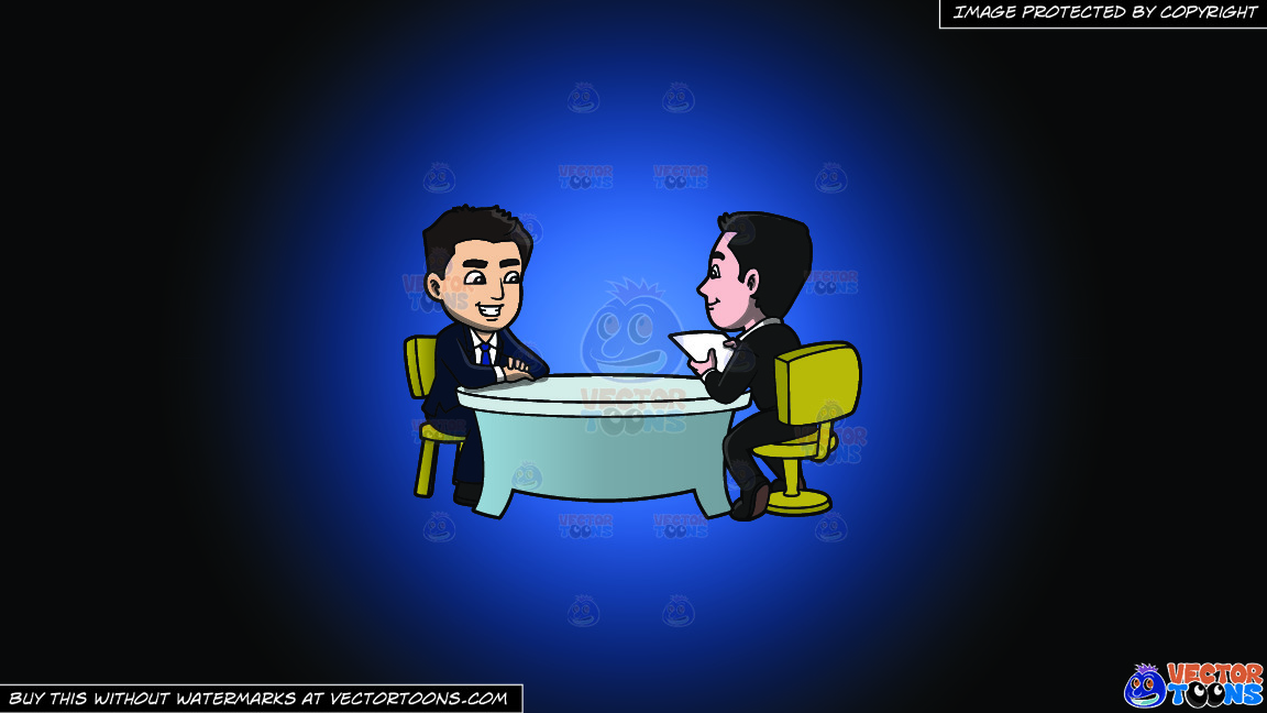 A Man Listening To A Male Applicant Talk About Himself On A Blue And Black Gradient Background thumbnail