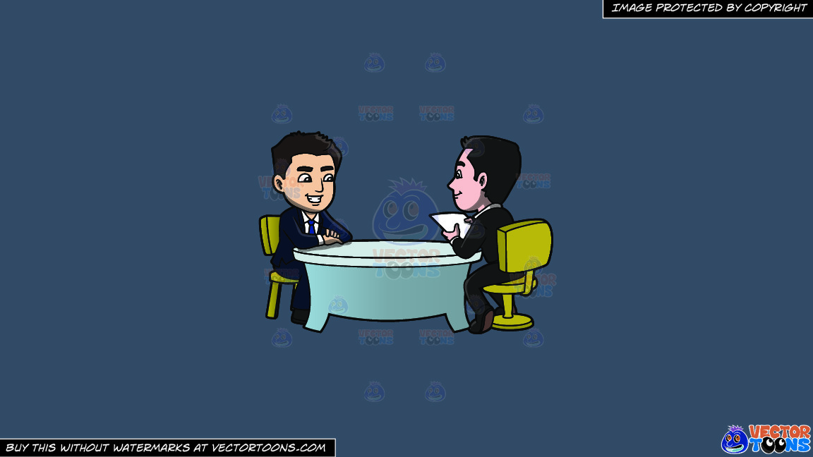 A Man Listening To A Male Applicant Talk About Himself On A Solid Metal Grey 465362 Background thumbnail