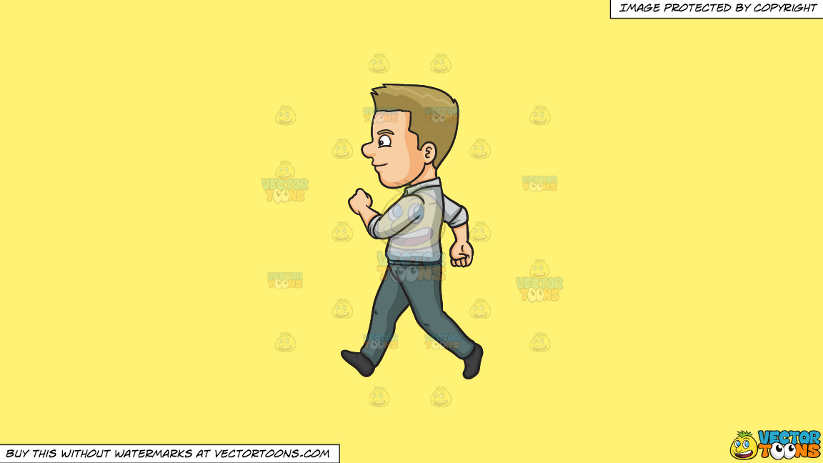 A Man Looking Cheerful While Walking On A Solid Sunny Yellow Fff275 Background thumbnail