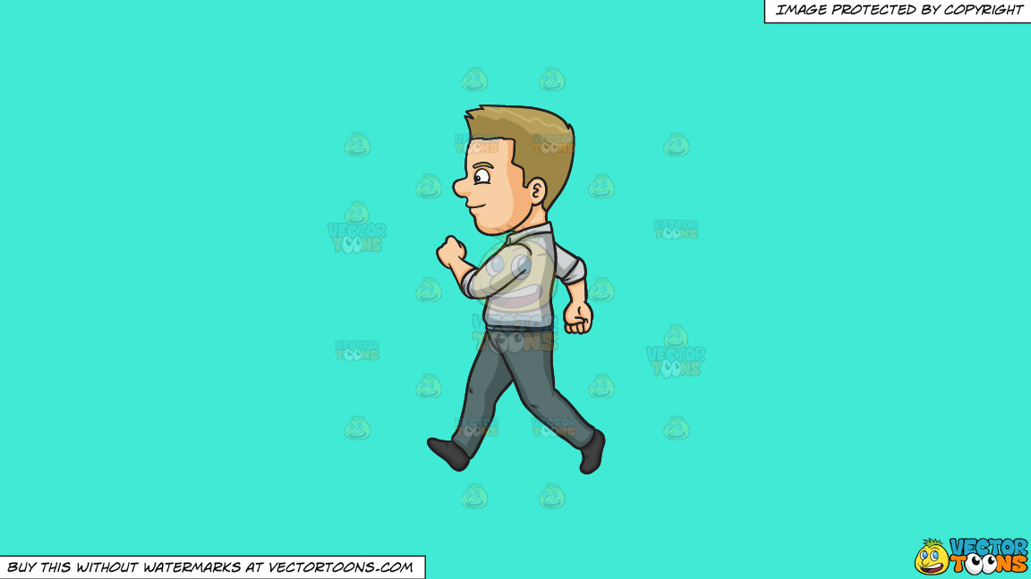 A Man Looking Cheerful While Walking On A Solid Turquiose 41ead4 Background thumbnail