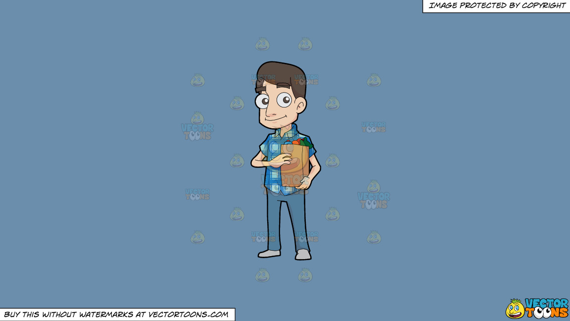 A Man Looking Happy After Grocery Shopping On A Solid Shadow Blue 6c8ead Background thumbnail