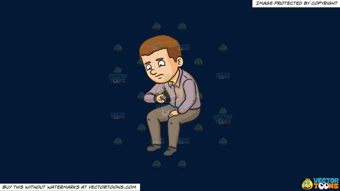 A Man Looking Worried While Looking At The Time On A Solid Dark Blue 011936 Background thumbnail
