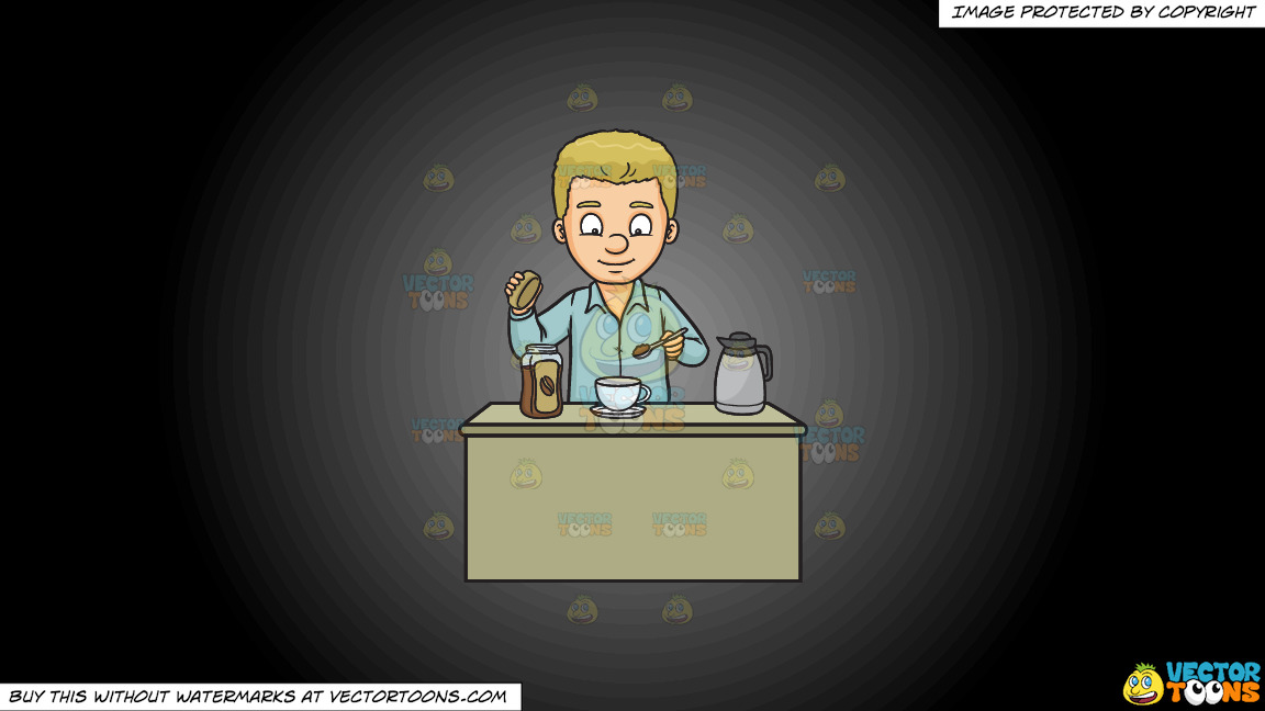 A Man Making A Cup Of Coffee On A Grey And Black Gradient Background thumbnail