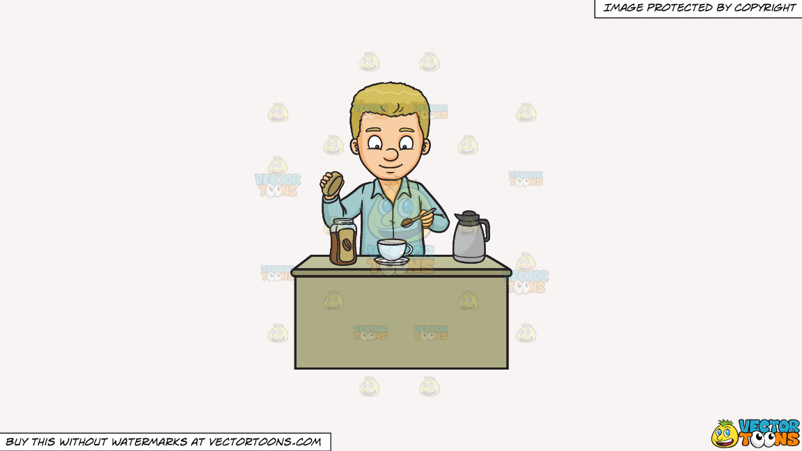 A Man Making A Cup Of Coffee On A Solid White Smoke F7f4f3 Background thumbnail