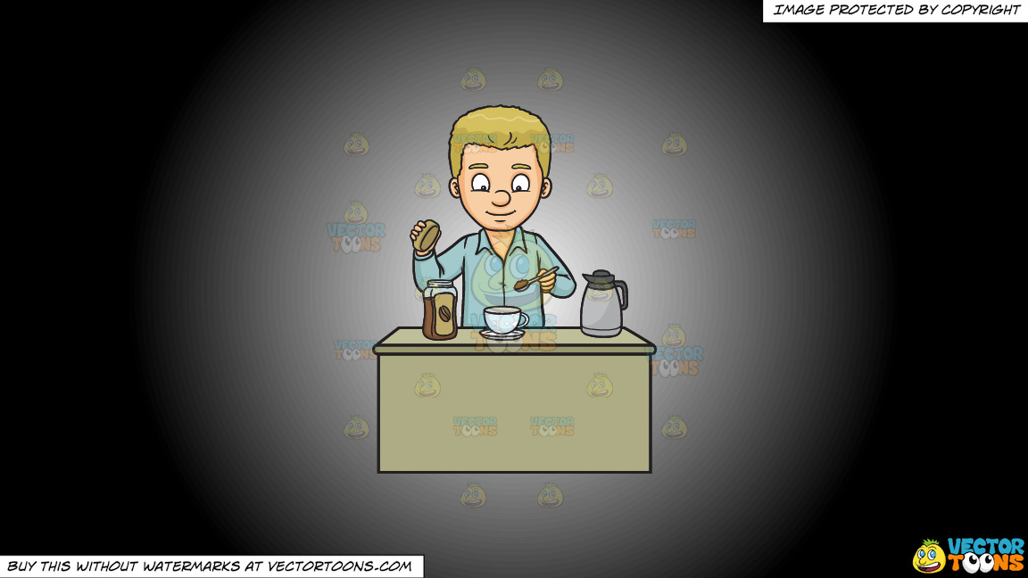A Man Making A Cup Of Coffee On A White And Black Gradient Background thumbnail