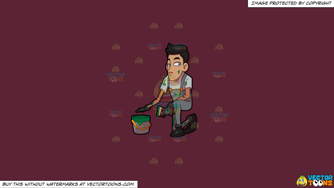 A Man Messed Up With Green Paint On A Solid Red Wine 5b2333 Background thumbnail
