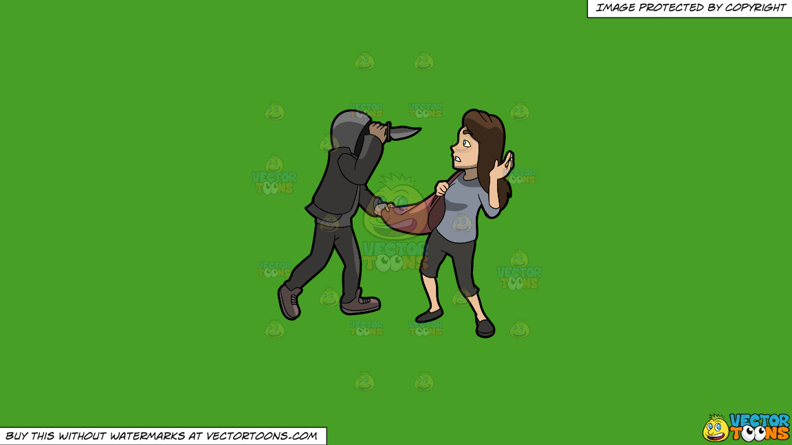 A Man Mugging A Woman With A Knife On A Solid Kelly Green 47a025 Background thumbnail