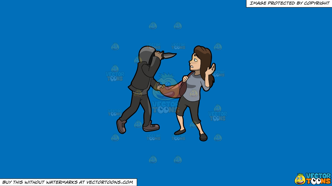 A Man Mugging A Woman With A Knife On A Solid Spanish Blue 016fb9 Background thumbnail
