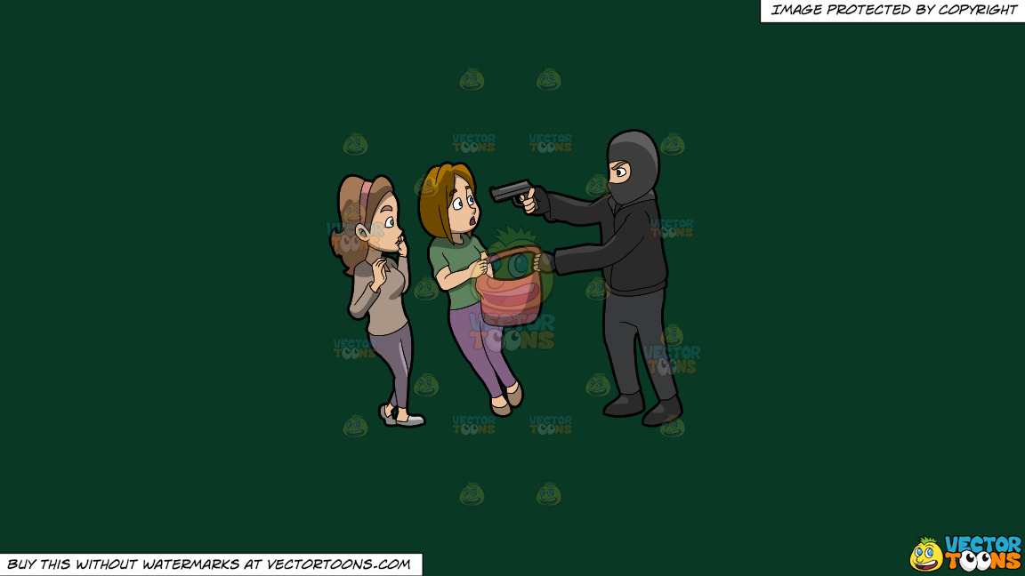 A Man Mugging Two Women On A Solid Dark Green 093824 Background thumbnail