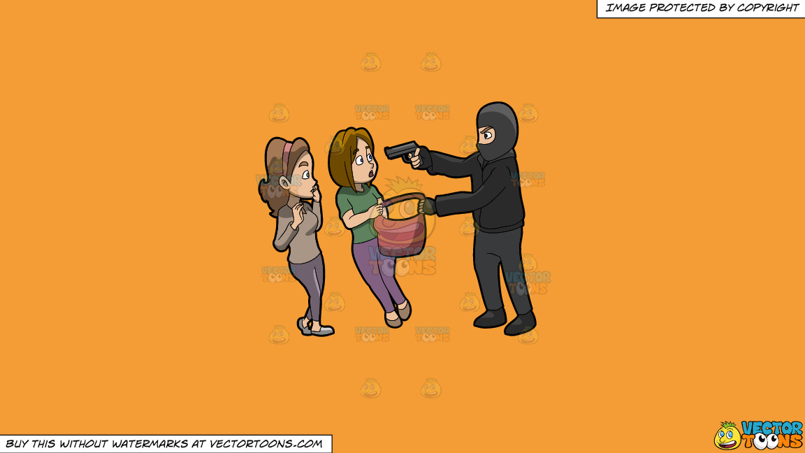 A Man Mugging Two Women On A Solid Deep Saffron Gold F49d37 Background thumbnail