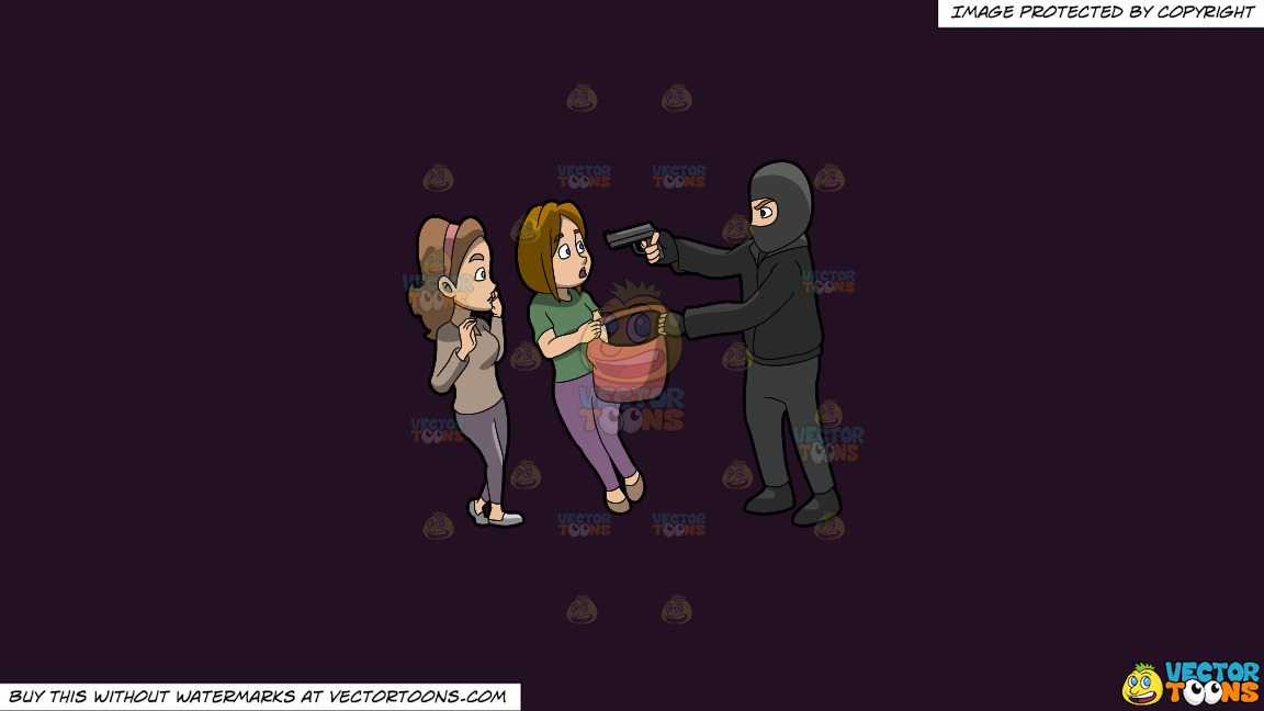A Man Mugging Two Women On A Solid Purple Rasin 241023 Background thumbnail