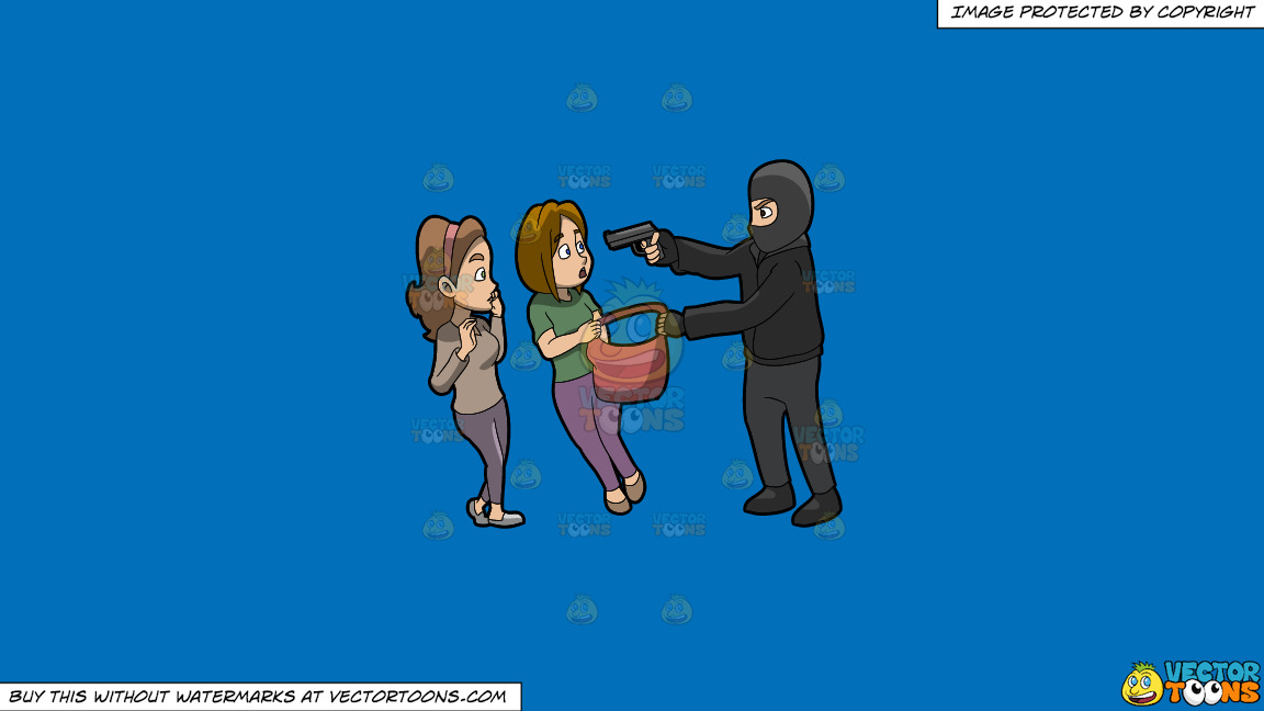 A Man Mugging Two Women On A Solid Spanish Blue 016fb9 Background thumbnail