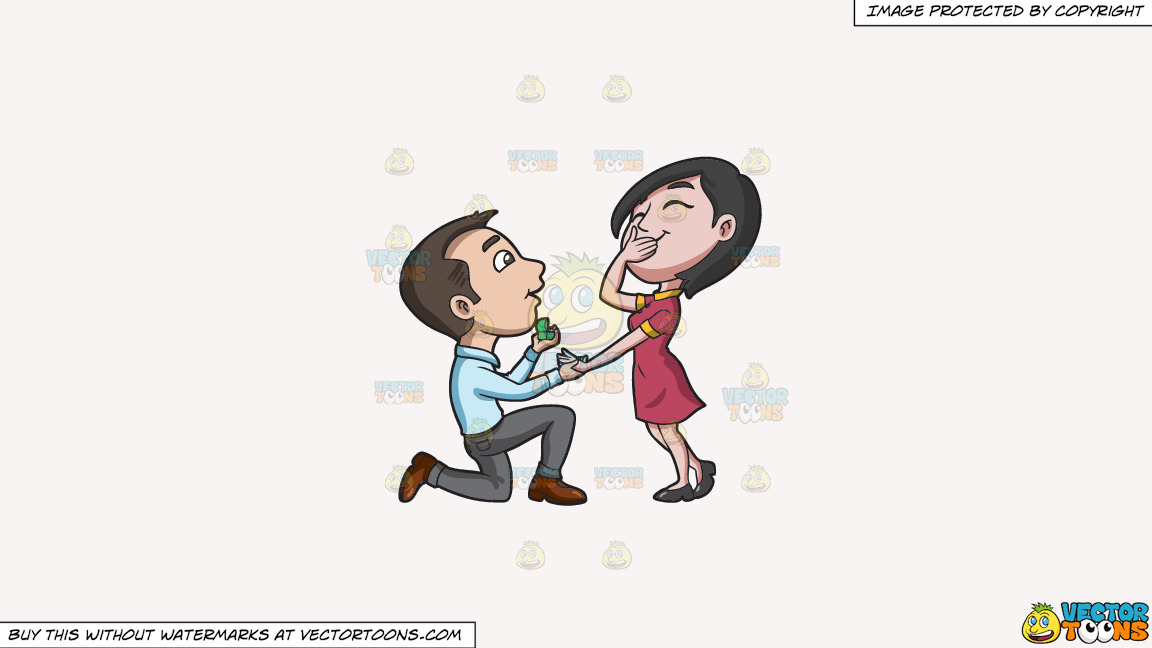 A Man Offering Marriage To His Happy Girlfriend On A Solid White Smoke F7f4f3 Background thumbnail