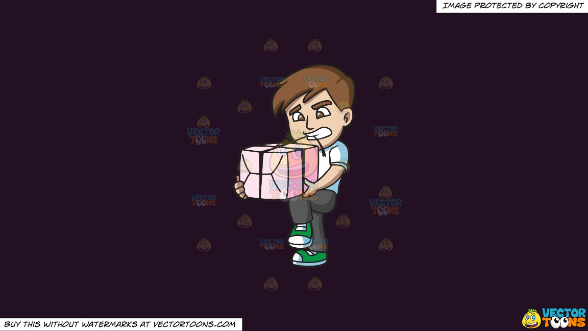 A Man Opening A Gift With His Teeth On A Solid Purple Rasin 241023 Background thumbnail