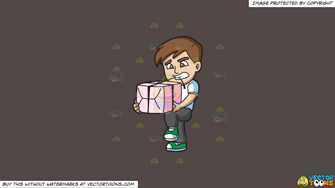 A Man Opening A Gift With His Teeth On A Solid Quartz 504746 Background thumbnail