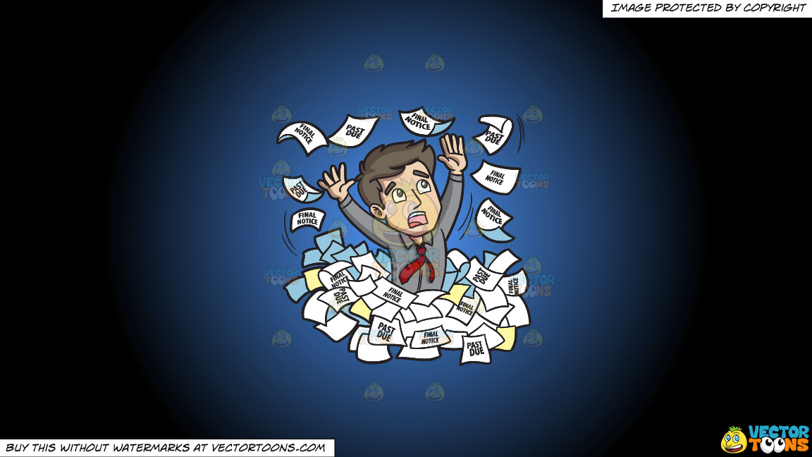 A Man Panicking Around A Sea Of Debt Notices On A Blue And Black Gradient Background thumbnail