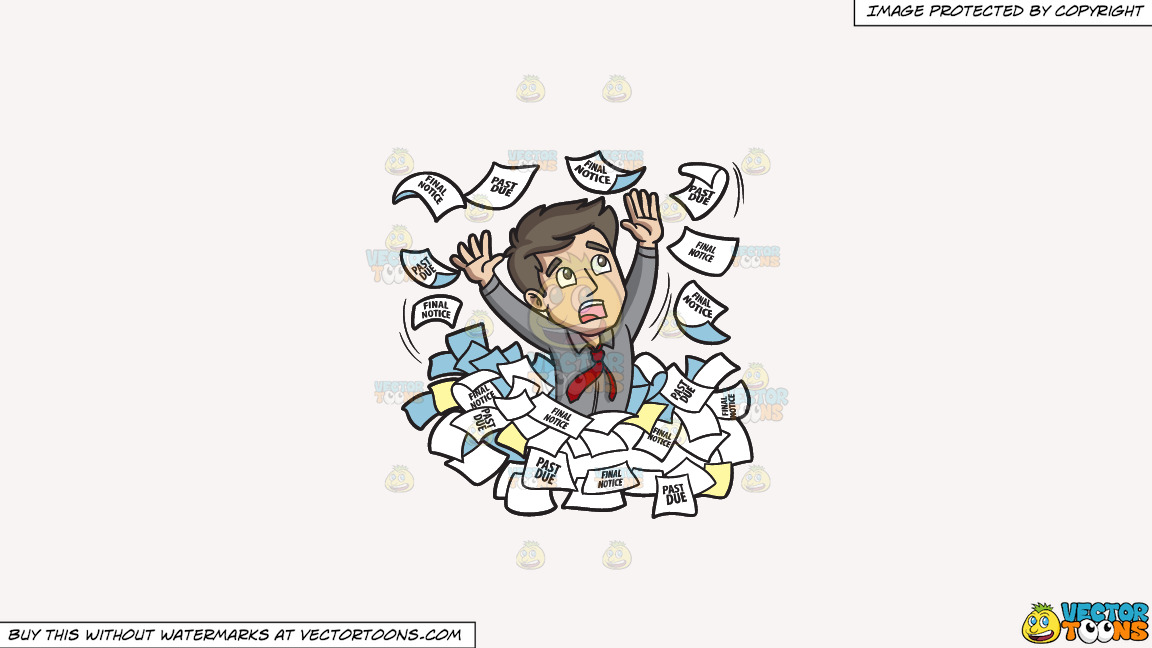 A Man Panicking Around A Sea Of Debt Notices On A Solid White Smoke F7f4f3 Background thumbnail