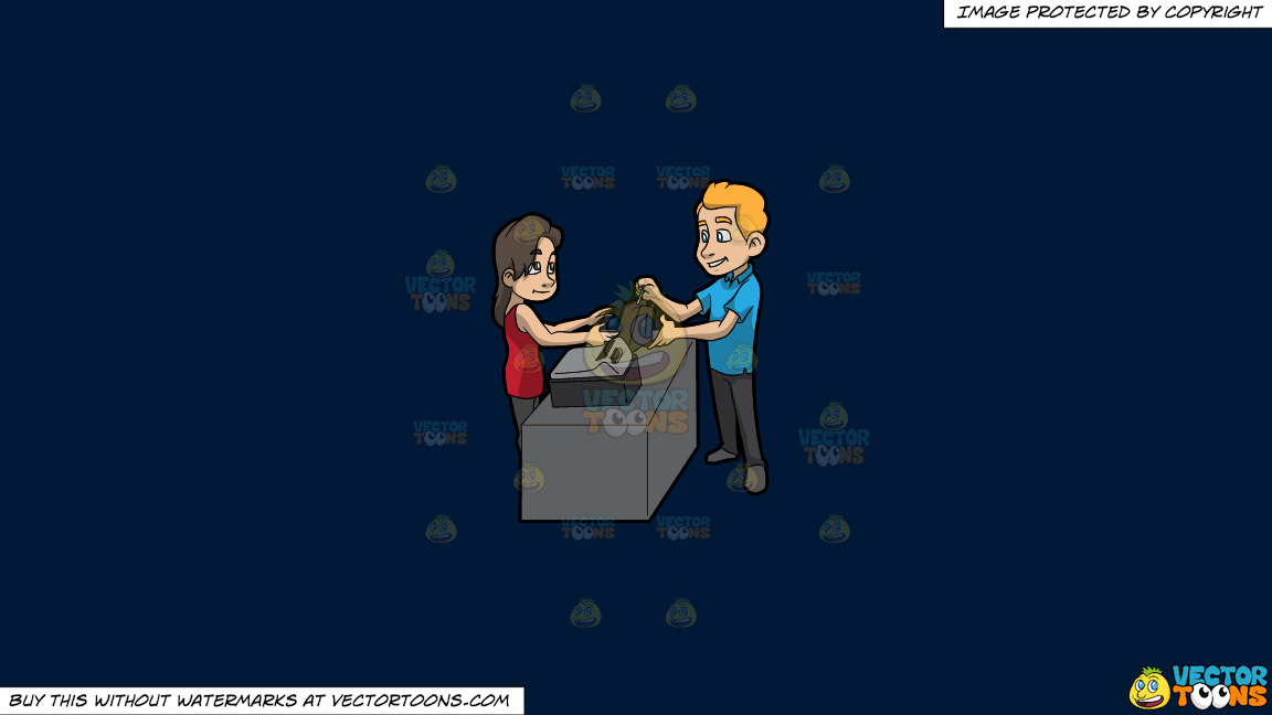 A Man Paying For His Clothes On A Solid Dark Blue 011936 Background thumbnail