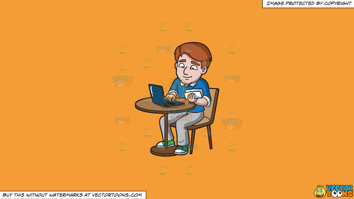 A Man Paying His Utility Bills Online On A Solid Deep Saffron Gold F49d37 Background thumbnail