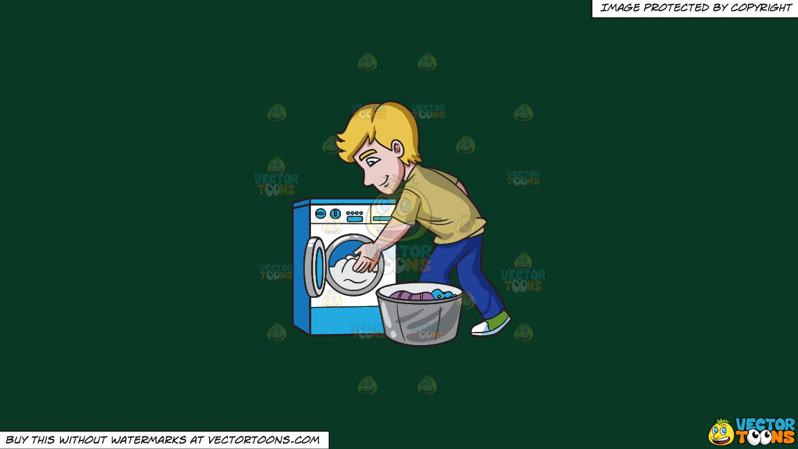 A Man Places The Clothes In The Washing Machine On A Solid Dark Green 093824 Background thumbnail