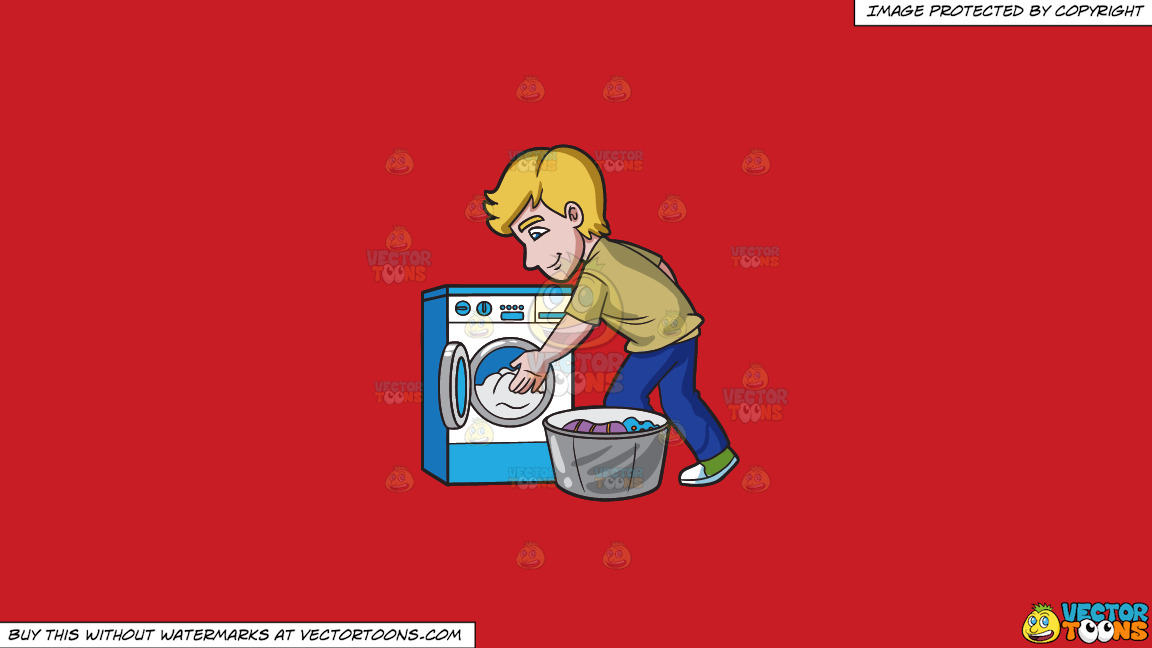 A Man Places The Clothes In The Washing Machine On A Solid Fire Engine Red C81d25 Background thumbnail