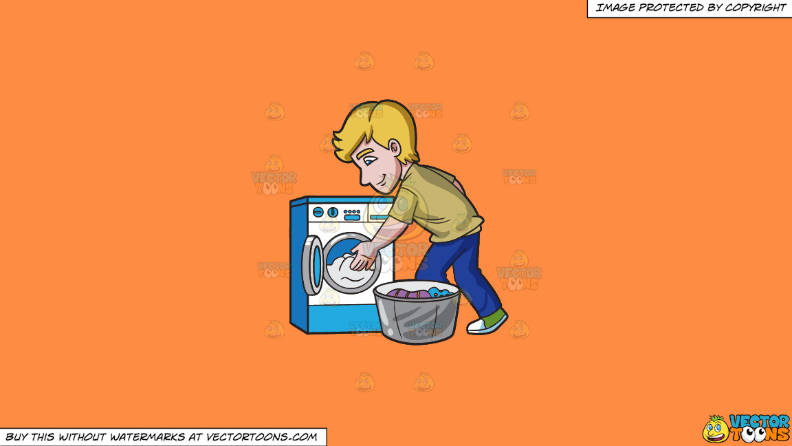 A Man Places The Clothes In The Washing Machine On A Solid Mango Orange Ff8c42 Background thumbnail