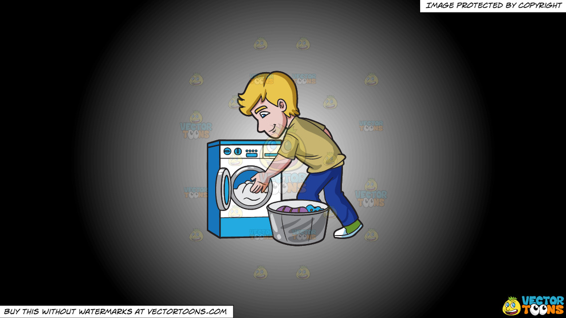 A Man Places The Clothes In The Washing Machine On A White And Black Gradient Background thumbnail