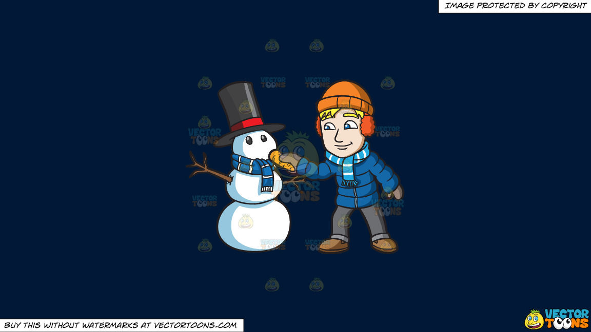A Man Placing A Carrot Nose On His Snowman On A Solid Dark Blue 011936 Background thumbnail