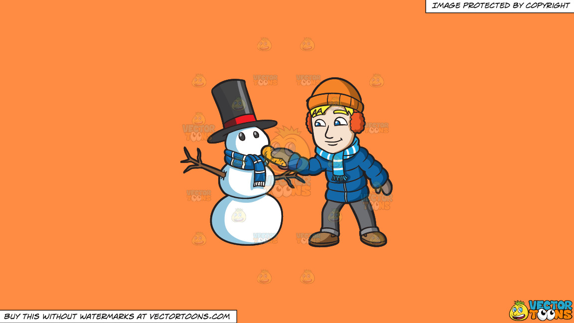 A Man Placing A Carrot Nose On His Snowman On A Solid Mango Orange Ff8c42 Background thumbnail