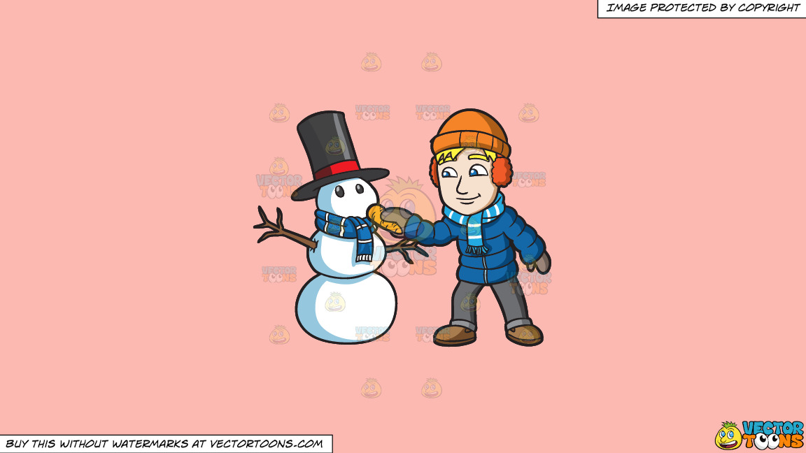 A Man Placing A Carrot Nose On His Snowman On A Solid Melon Fcb9b2 Background thumbnail