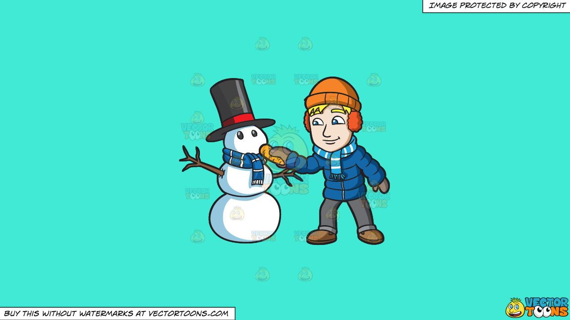 A Man Placing A Carrot Nose On His Snowman On A Solid Turquiose 41ead4 Background thumbnail