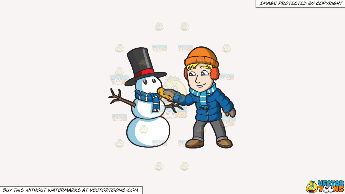 A Man Placing A Carrot Nose On His Snowman On A Solid White Smoke F7f4f3 Background thumbnail