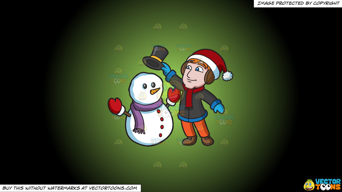 A Man Placing A Top Hat On A Snowman On A Green And Black Gradient Background thumbnail