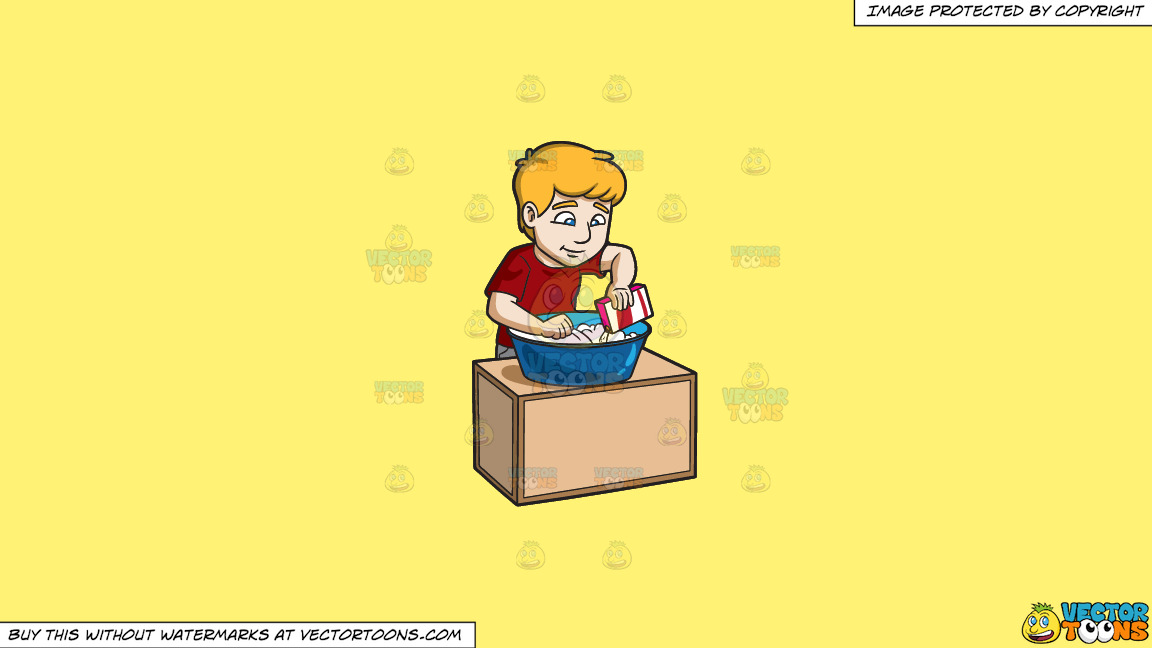 A Man Placing Detergent Powder On His Laundry On A Solid Sunny Yellow Fff275 Background thumbnail