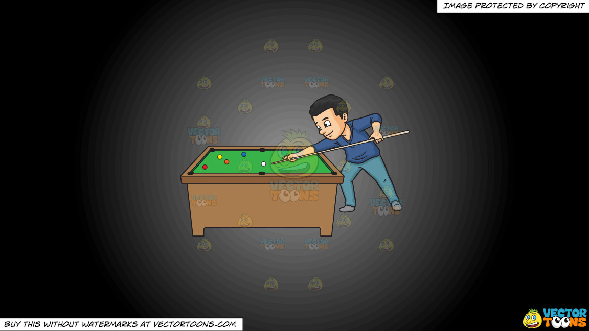 A Man Playing Billiards On A Grey And Black Gradient Background thumbnail