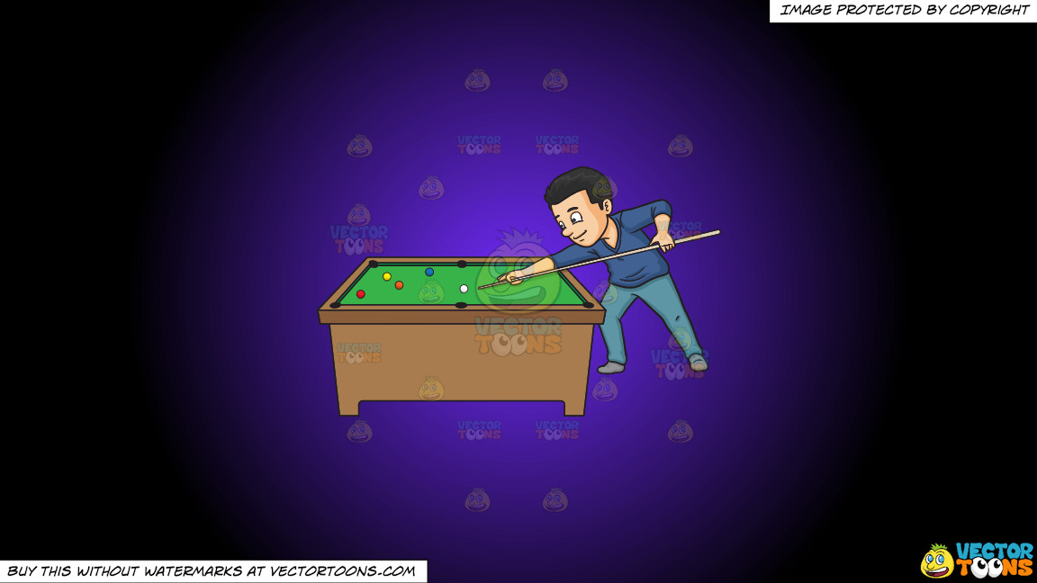 A Man Playing Billiards On A Purple And Black Gradient Background thumbnail