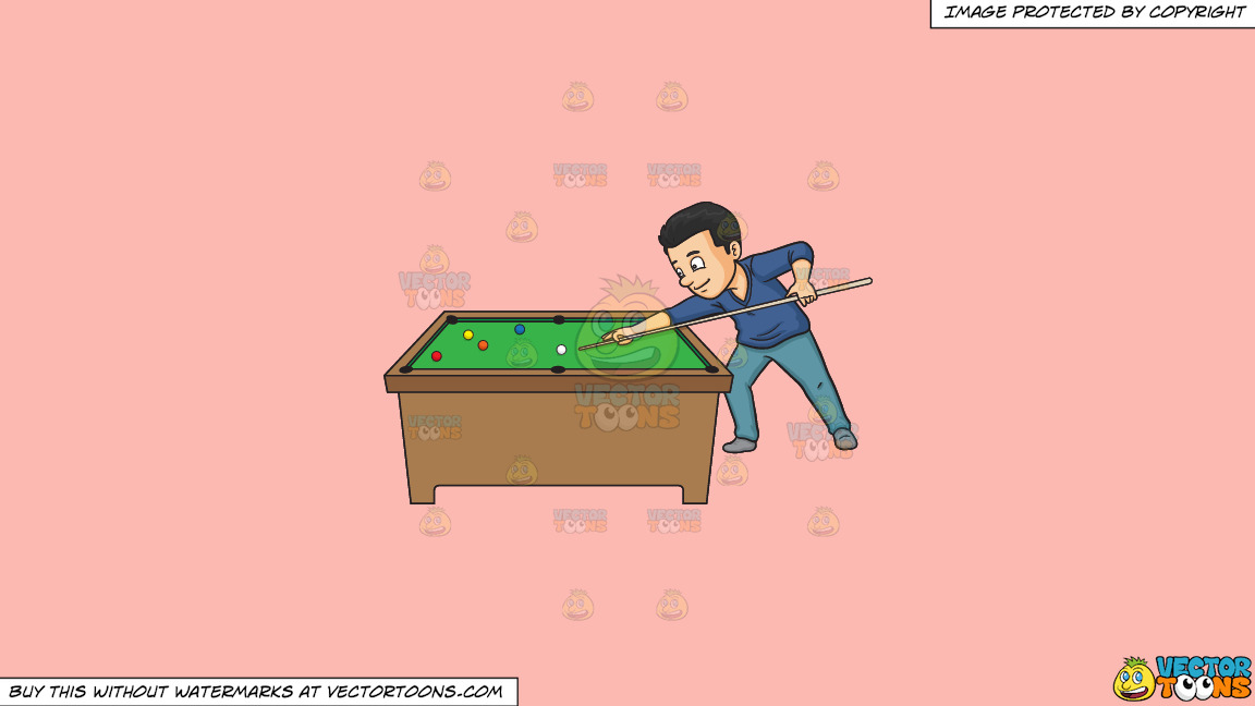 A Man Playing Billiards On A Solid Melon Fcb9b2 Background thumbnail