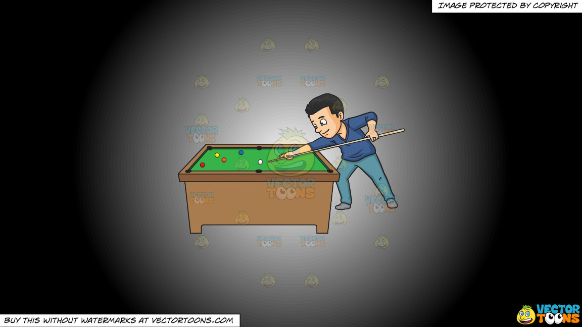 A Man Playing Billiards On A White And Black Gradient Background thumbnail