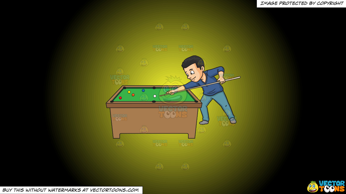 A Man Playing Billiards On A Yellow And Black Gradient Background thumbnail
